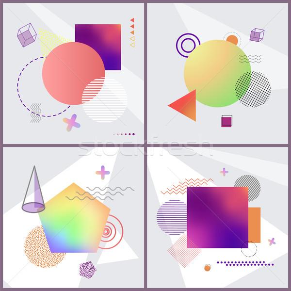 Posters abstractie ingesteld collectie patroon paars Stockfoto © robuart