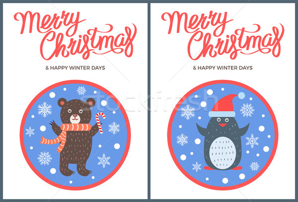 Merry Christmas and Happy Winter Days Bear Penguin Stock photo © robuart