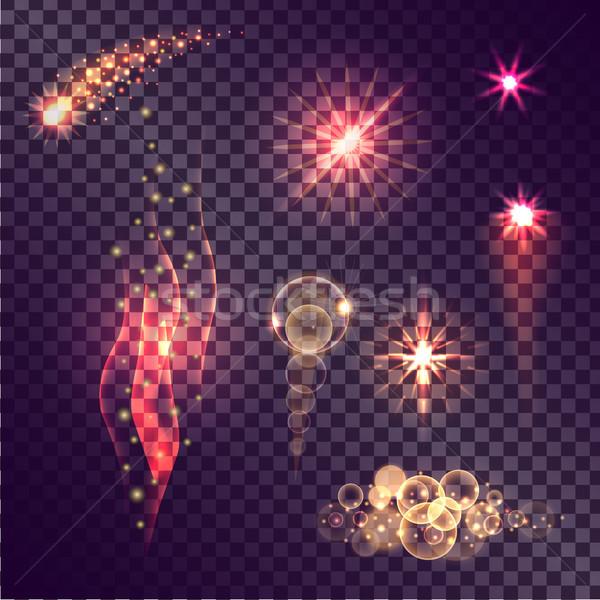 реалистичный вектора световыми эффектами набор падение Сток-фото © robuart