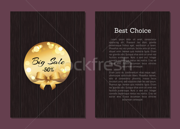 Best Choice Sale Cover Front Back Page Gold Label Stock photo © robuart