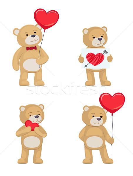 I Love You and Me Teddy Bears Vector Stock photo © robuart