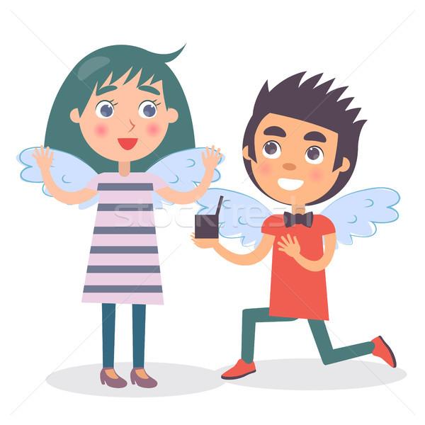 Copain mariage proposition petite amie deux heureux Photo stock © robuart