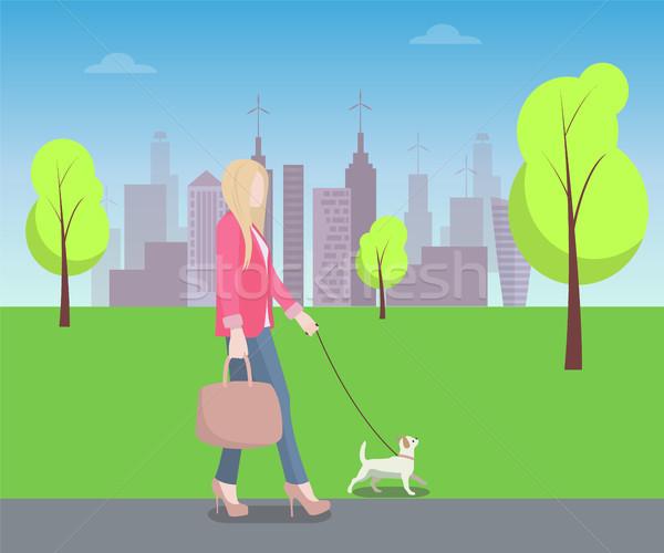 Nő sétál park színes poszter díszállat Stock fotó © robuart