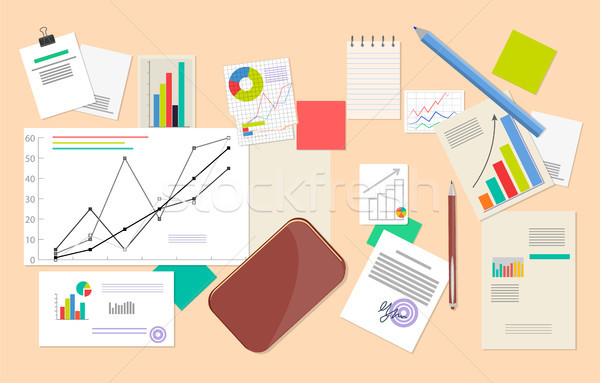 Lot of Statistic and Analytics Data, Vector Poster Stock photo © robuart