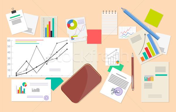Statistisch analytics gegevens vector poster charts Stockfoto © robuart