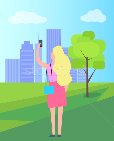 Woman Taking Selfie in City Park Illustration Stock photo © robuart