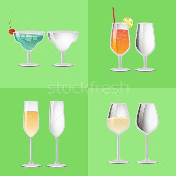 Set erfrischend Cocktail leer Gläser Cocktails Stock foto © robuart