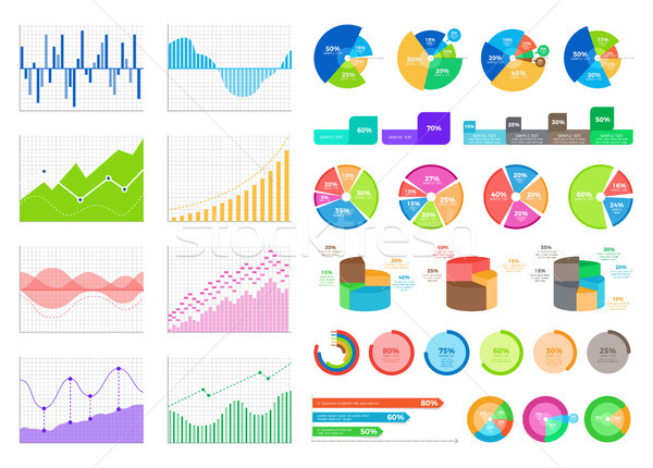 Bright Flat Graphics and Volumetric Diagrams Set Stock photo © robuart