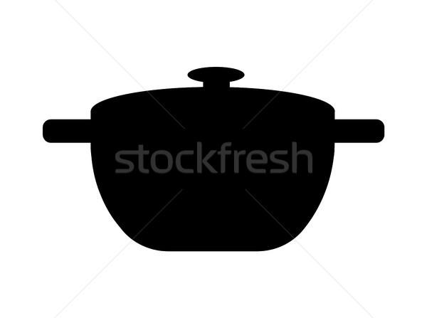 Foto stock: Preto · panela · simples · modelo · cozinha · ferramenta