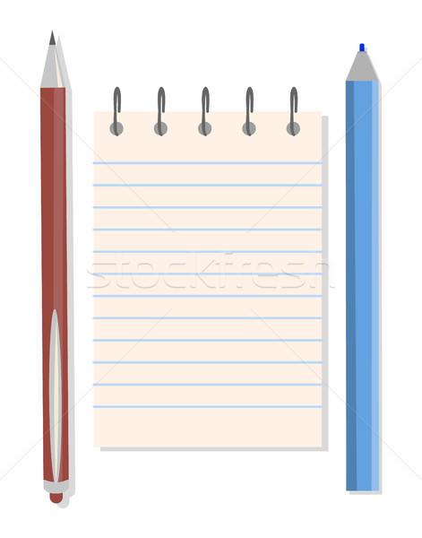 Notebook, Pen and Pencil, Vector Illustration Stock photo © robuart