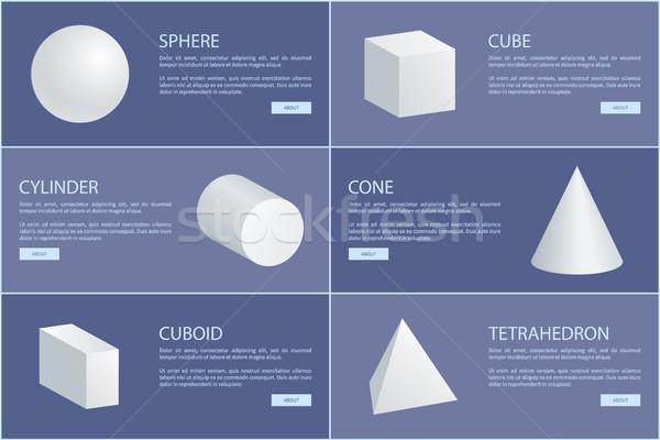 Carré pyramide cylindre cône sphère 3D Photo stock © robuart