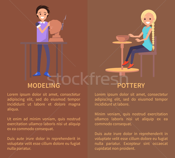 Modeling and Potterry, Color Vector Illustration Stock photo © robuart