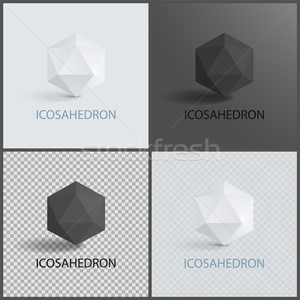 Icosahedron Geometric 3D Shapes in Black and White Stock photo © robuart