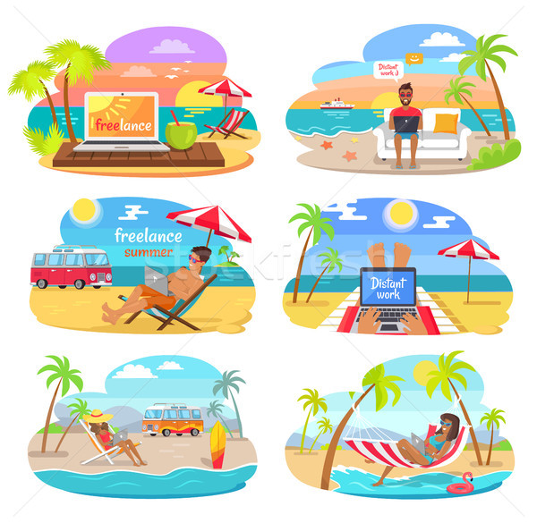 Summer Freelance Distant Work Colorful Posters Set Stock photo © robuart