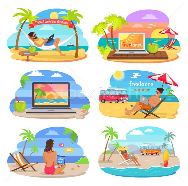 Werk zomer freelance vector banners illustratie Stockfoto © robuart