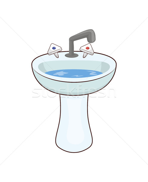 Basin with Taps and Water Vector Illustration Stock photo © robuart