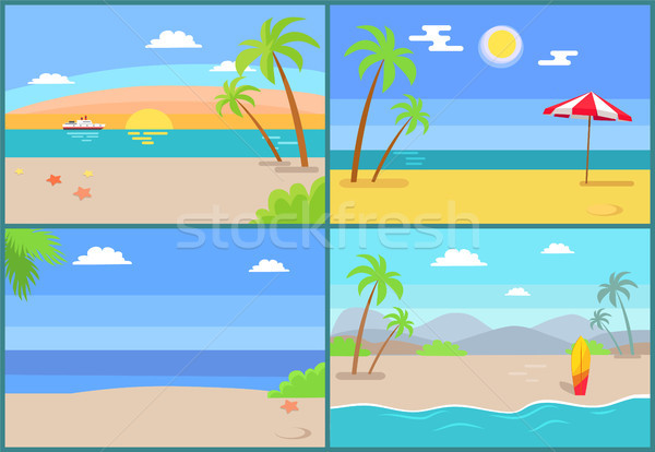Summertime Paradise Set of Vector Sandy Beaches Stock photo © robuart