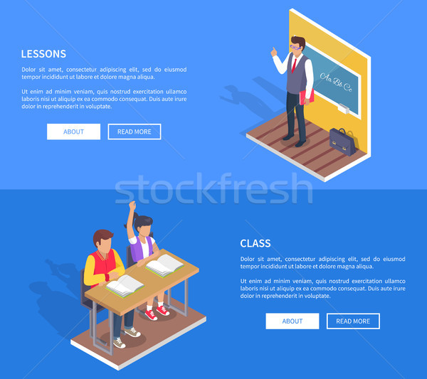 Two Students Boy Girl Sit at Desk, Teacher Stand Stock photo © robuart
