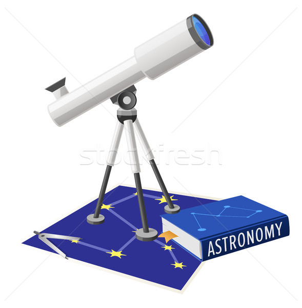 Telescope and Textbook for Astronomical Researches Stock photo © robuart