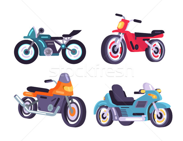 Motorbikes Set Stylish Motor Transport Item Models Stock photo © robuart