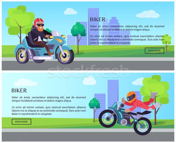 Biker Vector Web Pages Design with Push Buttons Stock photo © robuart