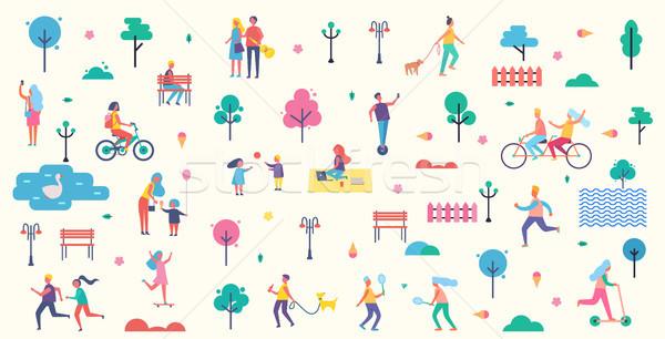 Foto stock: Personas · parque · iconos · colección · árboles · linterna