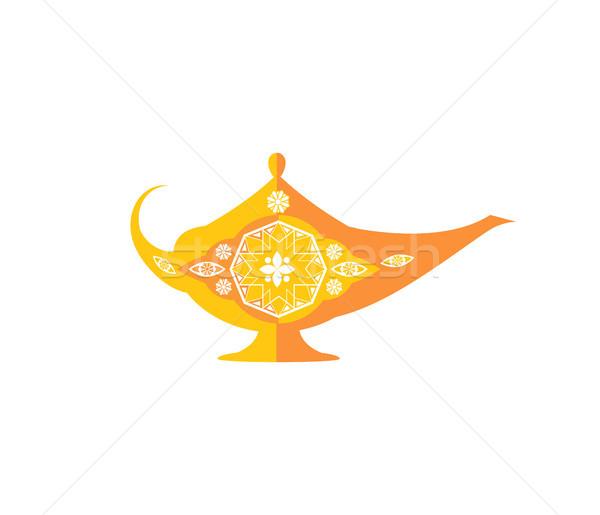 Mágikus tál aranyos dísz arab dzsinn Stock fotó © robuart