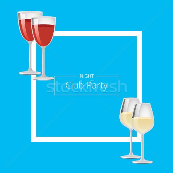 Gece klübü parti poster kırmızı beyaz şarap kare Stok fotoğraf © robuart