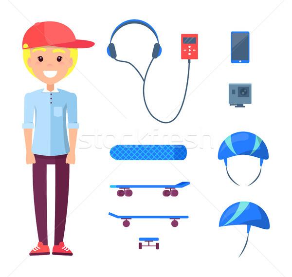 скейтбордист строительство набор подростку мобильного телефона шлема Сток-фото © robuart