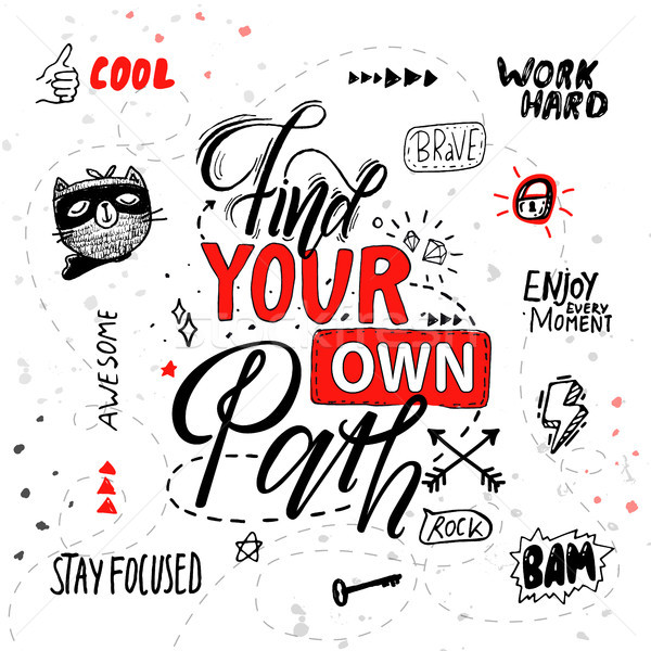 Find Your Own Path Poster Vector Illustration Stock photo © robuart