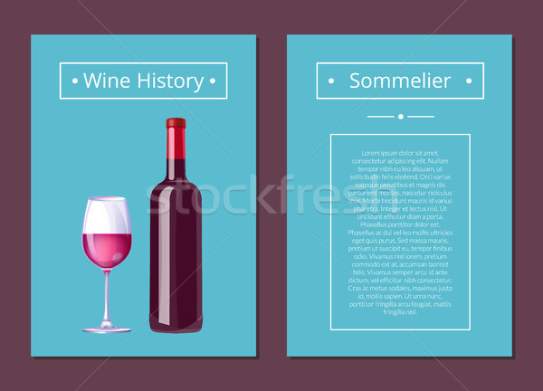 Wine History Sommelier Poster with Bottle Alcohol Stock photo © robuart