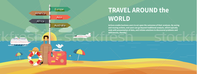 Icons set of traveling and planning vacation Stock photo © robuart