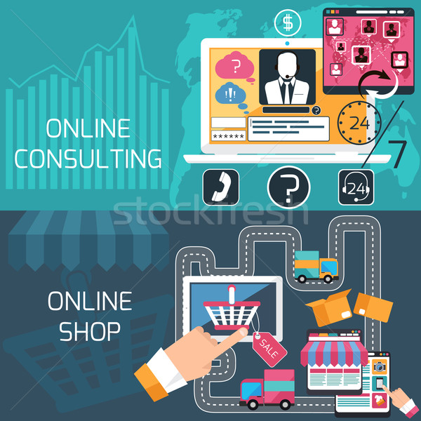 Concept for online shopping and consulting service Stock photo © robuart