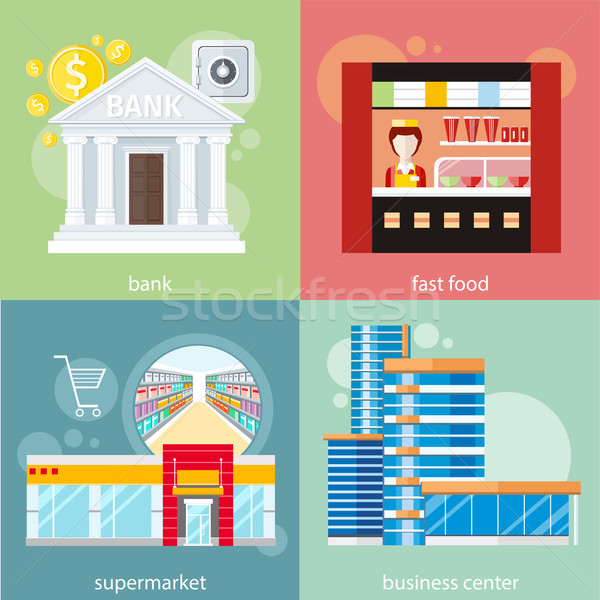 Business centrum supermarkt bank fast food moderne Stockfoto © robuart