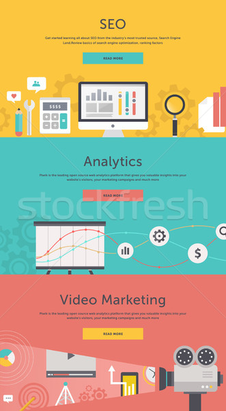 Seo optimisation web analytics vidéo marketing Photo stock © robuart