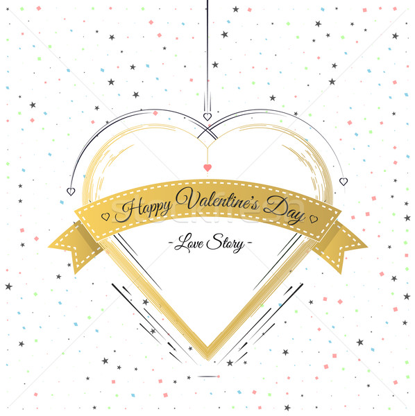Valentines Day Card Lettering Gold Frame Stock photo © robuart