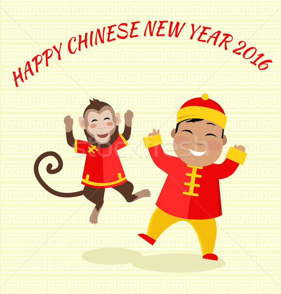 Сток-фото: Новый · год · обезьяны · карт · счастливым · Китайский · Новый · год · 2016