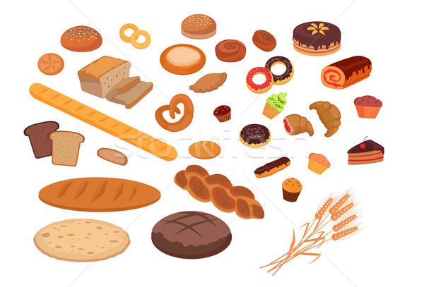 Fırın ürünleri ayarlamak dizayn ekmek alışveriş Stok fotoğraf © robuart