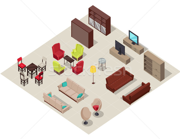 Furniture Set Isometric Design Stock photo © robuart