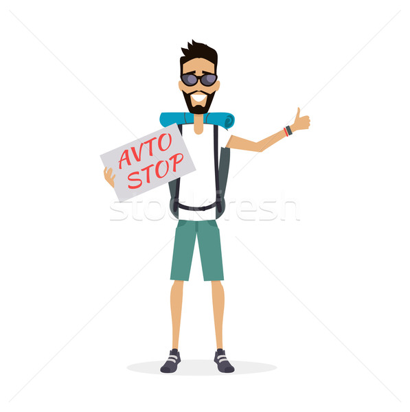 Hitch-Hiking Traveller Character Vector Illustration. Stock photo © robuart