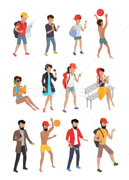 Big Set Summer People Characters. Stock photo © robuart