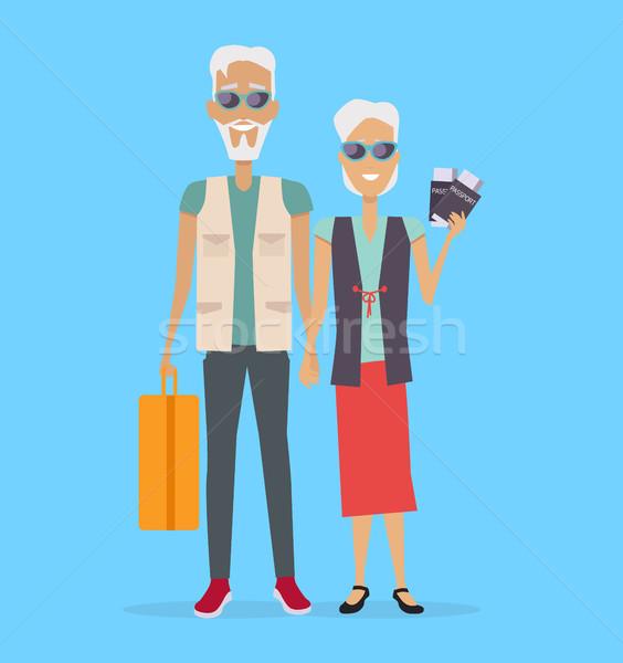 Reizen ouderdom vector ontwerp ouderen paar Stockfoto © robuart