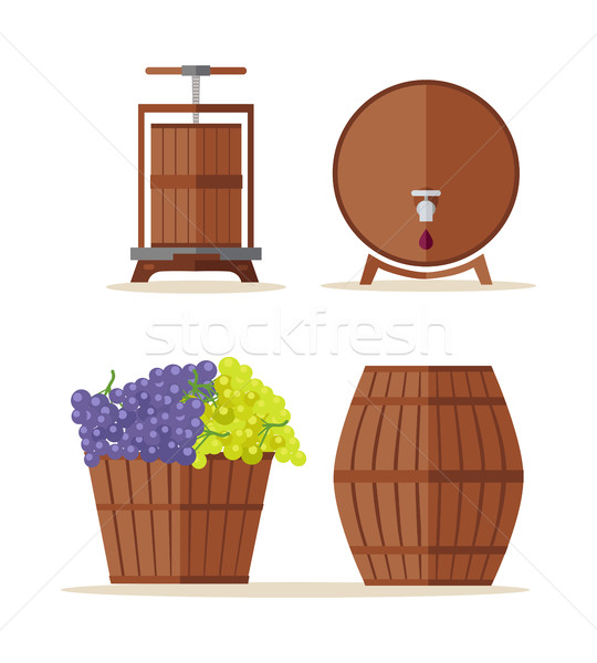 Wine barrels set. Basket with grape. Stock photo © robuart