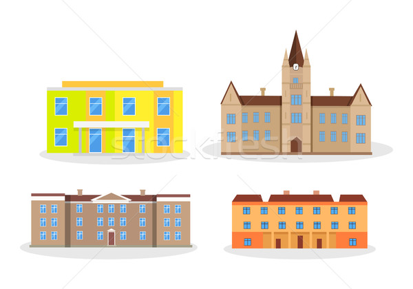Set of Buildings Kindergarten School College University. Stock photo © robuart