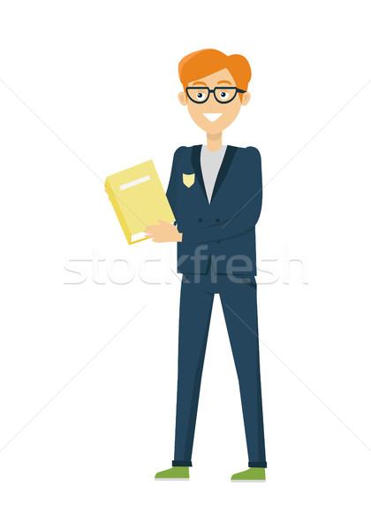 школьник книга изолированный характер синий куртка Сток-фото © robuart