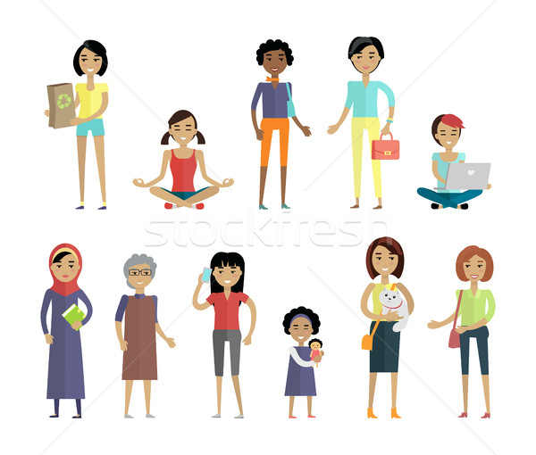Set of Women of Different Ages and Races Isolated Stock photo © robuart