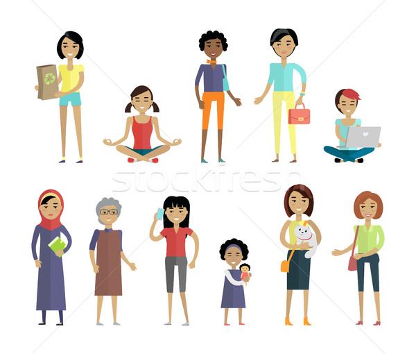 Szett nők különböző izolált fehér választék Stock fotó © robuart
