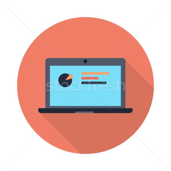 Laptop diagramma schermo icona lungo ombra Foto d'archivio © robuart