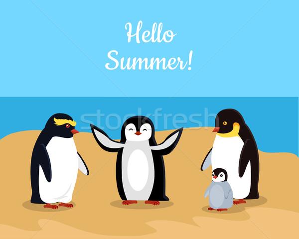 Hello Summer. Funny Emperor Penguins Family Stock photo © robuart