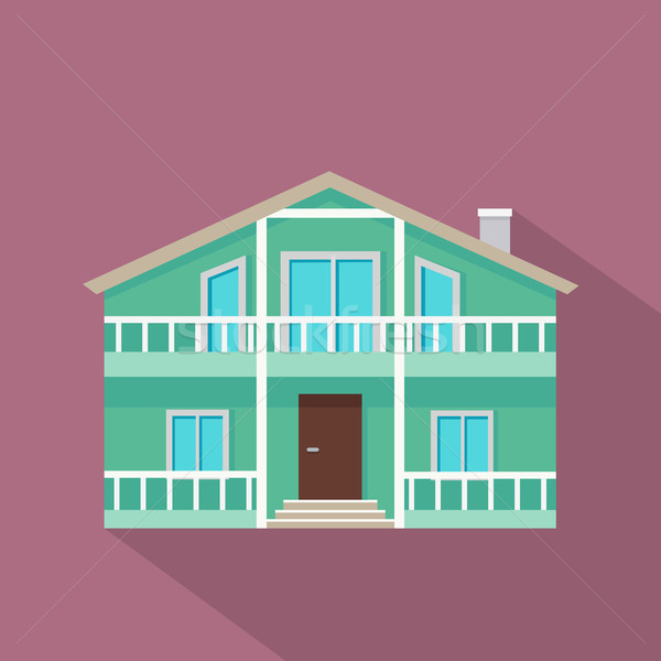 House Vector Icon with Shadow in Flat Design. Stock photo © robuart